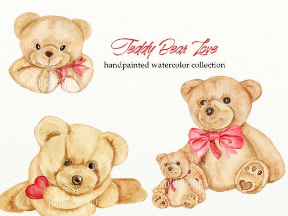 570x428 Teddy Bear Love Watercolor Clipart Valentines Clipart Romantic Etsy