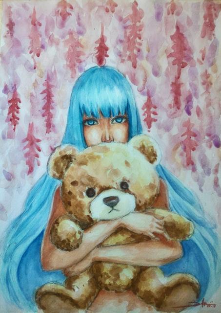 453x640 Adi Djafar Artwork Woman With Teddy Bear Original Watercolor