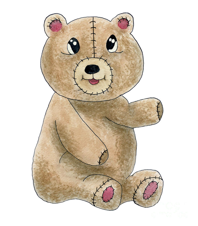 786x900 Teddy Bear Watercolor Painting Painting By Valerie Garner