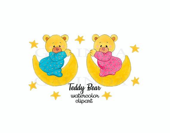 570x444 Teddy Bear Clipart Watercolor Clipart Cute Teddy Bear Etsy