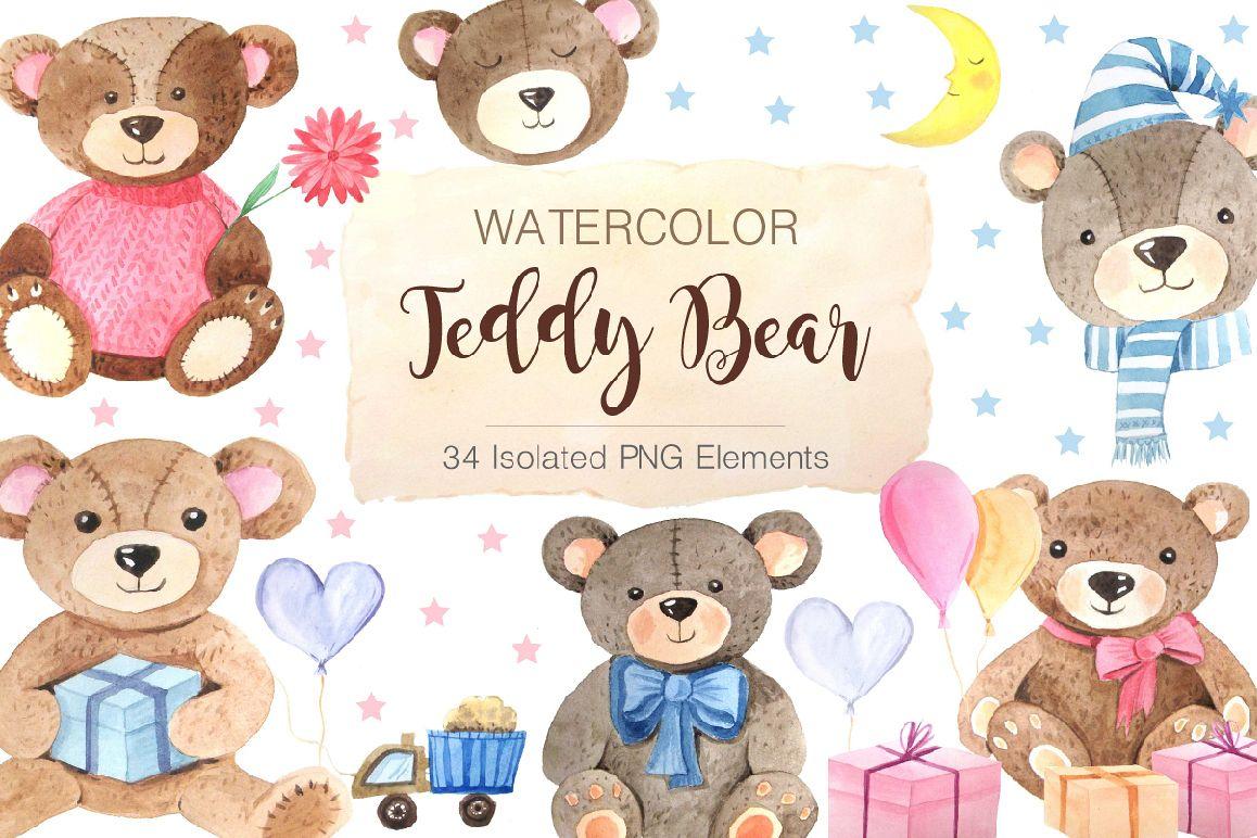 1158x772 Watercolor Teddy Bears