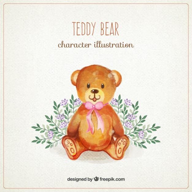 626x626 Watercolor Teddy Bear Vector Premium Download