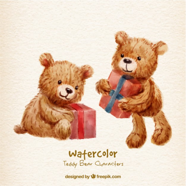626x626 Watercolor Teddy Bear Characters With Gifts Vector Free Download