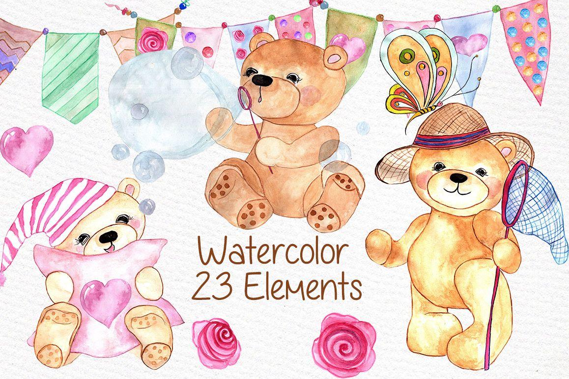 1158x772 Watercolor Teddy Bear Clipart