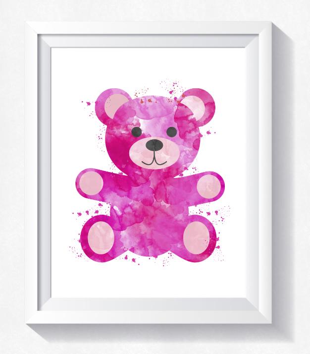 626x714 Watercolor Teddy Bear Printable, Nurser Design Bundles