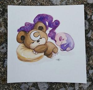 300x290 Pokemon Watercolor Painting Cute Teddiursa Teddy Bear Dreaming