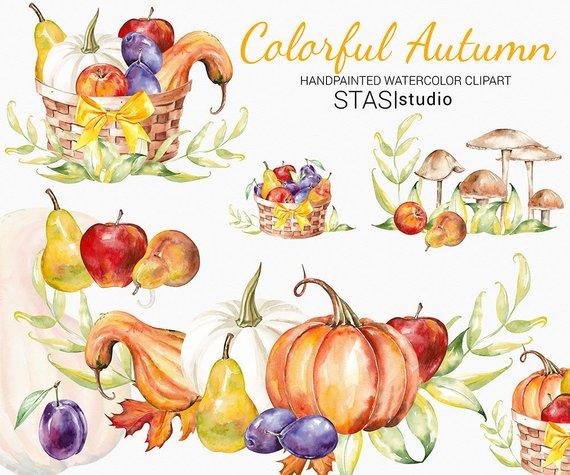 570x475 Thanksgiving Watercolor Clipart Fall Clip Art Autumn Pumpkin Etsy