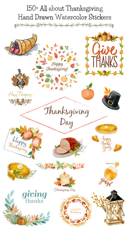 422x750 Thanksgiving Watercolor Set By Sunhee Choi