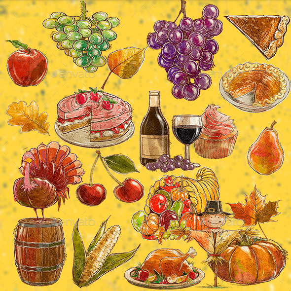 590x590 Thanksgiving Watercolor By Graphicsbackground Graphicriver