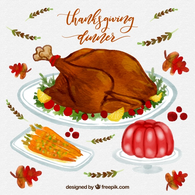 626x626 Thanksgiving Watercolor Dinner Pack Stock Images