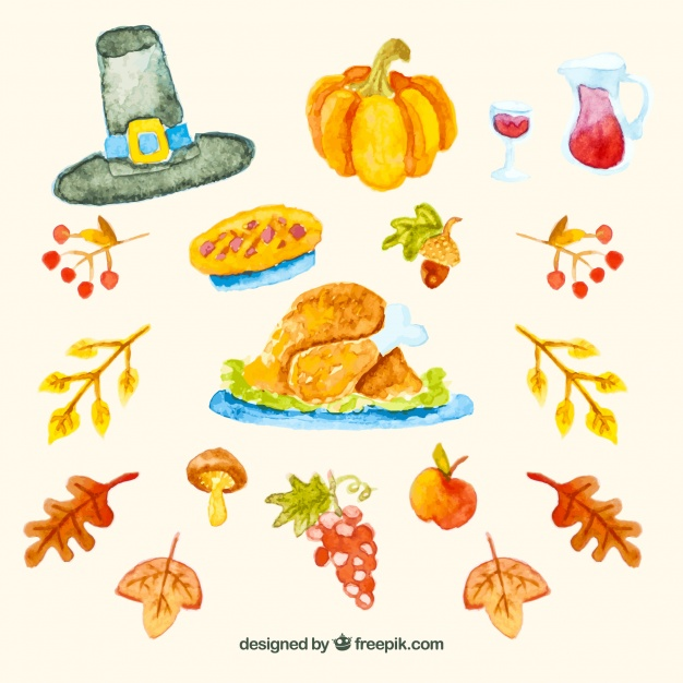 626x626 Thanksgiving Watercolor Elements Pack Vector Free Download