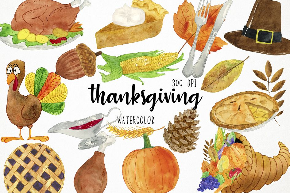 945x630 Watercolor Thanksgiving Clipart, Harvest Clipart
