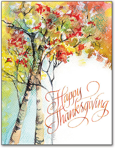 401x515 Watercolor Trees Thanksgiving 4 Up Laser Card Smartpractice Medical