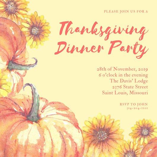 530x530 Yellow Watercolor Thanksgiving Invitation