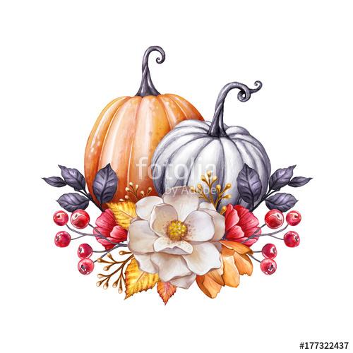 500x500 Floral Pumpkins, Thanksgiving Watercolor Illustration, Autumn