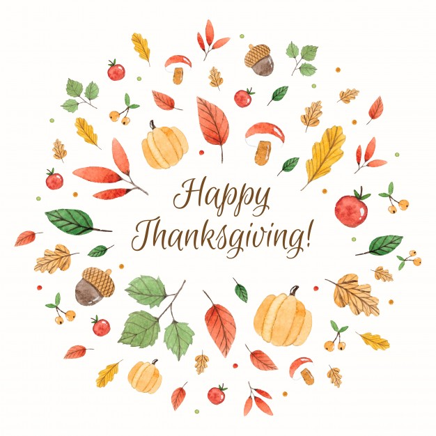 626x626 Happy Thanksgiving Composition With Watercolor Elements Vector