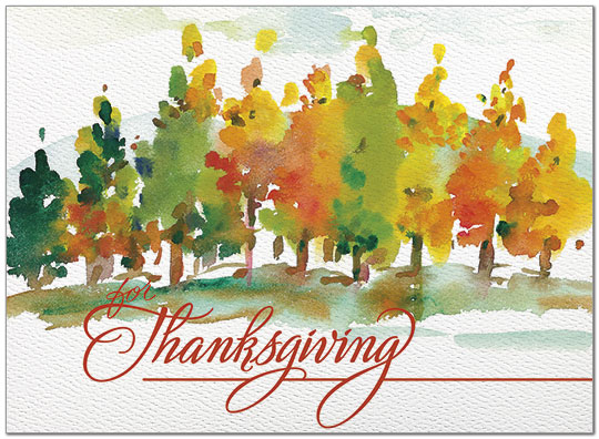 540x396 Painted Trees Card Watercolor Thanksgiving Card Posty Cards