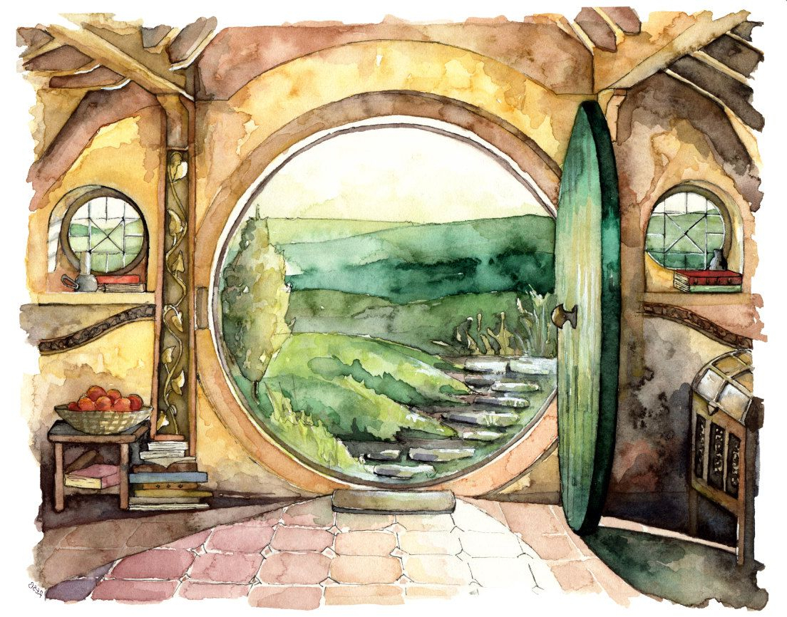1104x866 Lord Of The Rings Painting Bag End Painting, Watercolor Painting