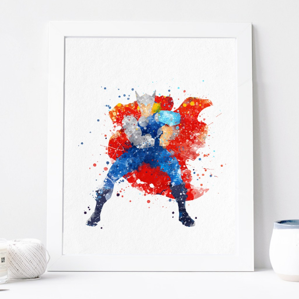 1024x1024 Thor Poster Avengers Watercolor Art Print, Nursery Wall Decor