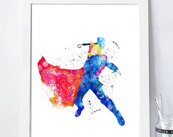 340x270 Thor Poster Thor Watercolor Avengers Print Thor Painting Etsy