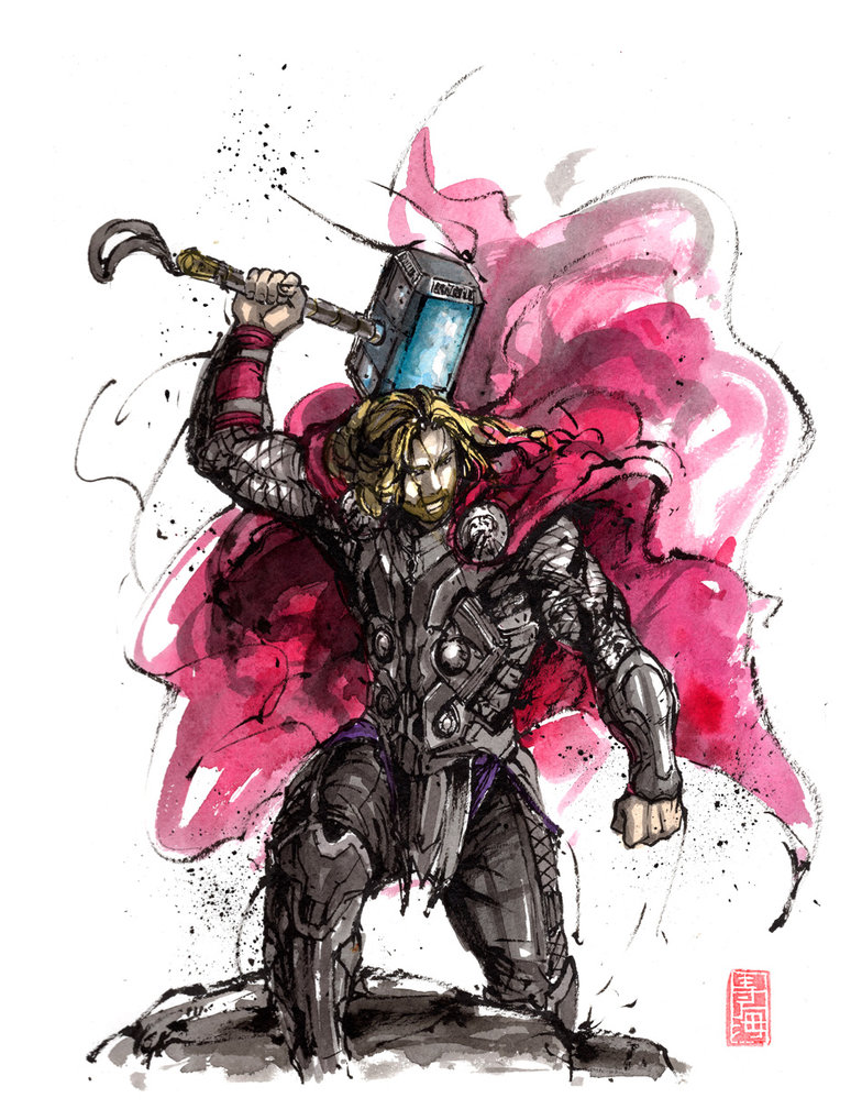 784x1018 Thor Sumi And Watercolor By Mycks