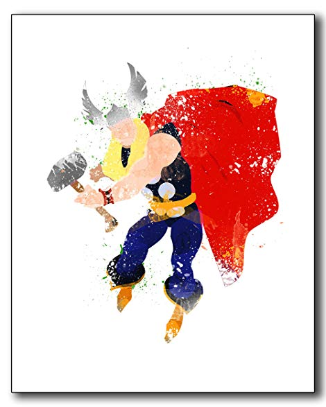 470x587 Thor Watercolor Photo Print