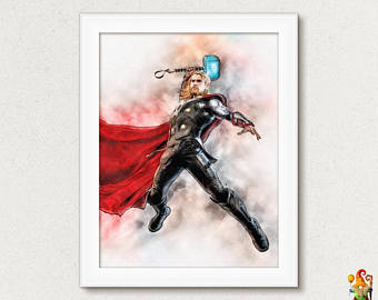 340x270 Thor Watercolor Etsy