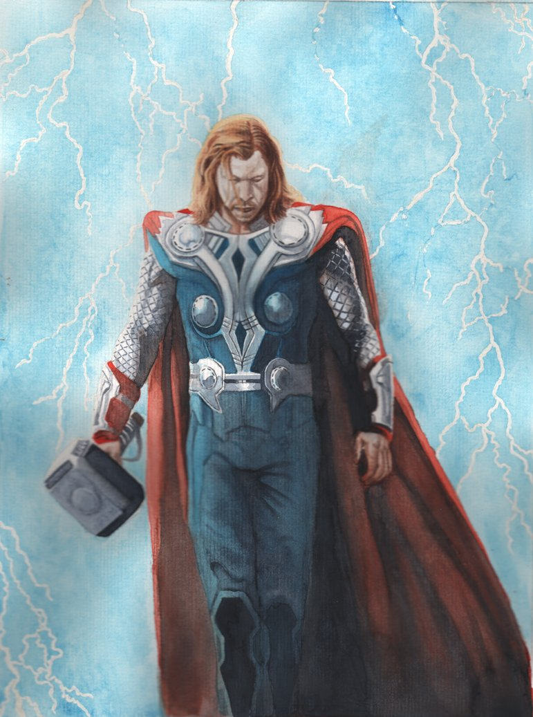 771x1037 Thor Watercolor Commission Finish By Josephlsilver