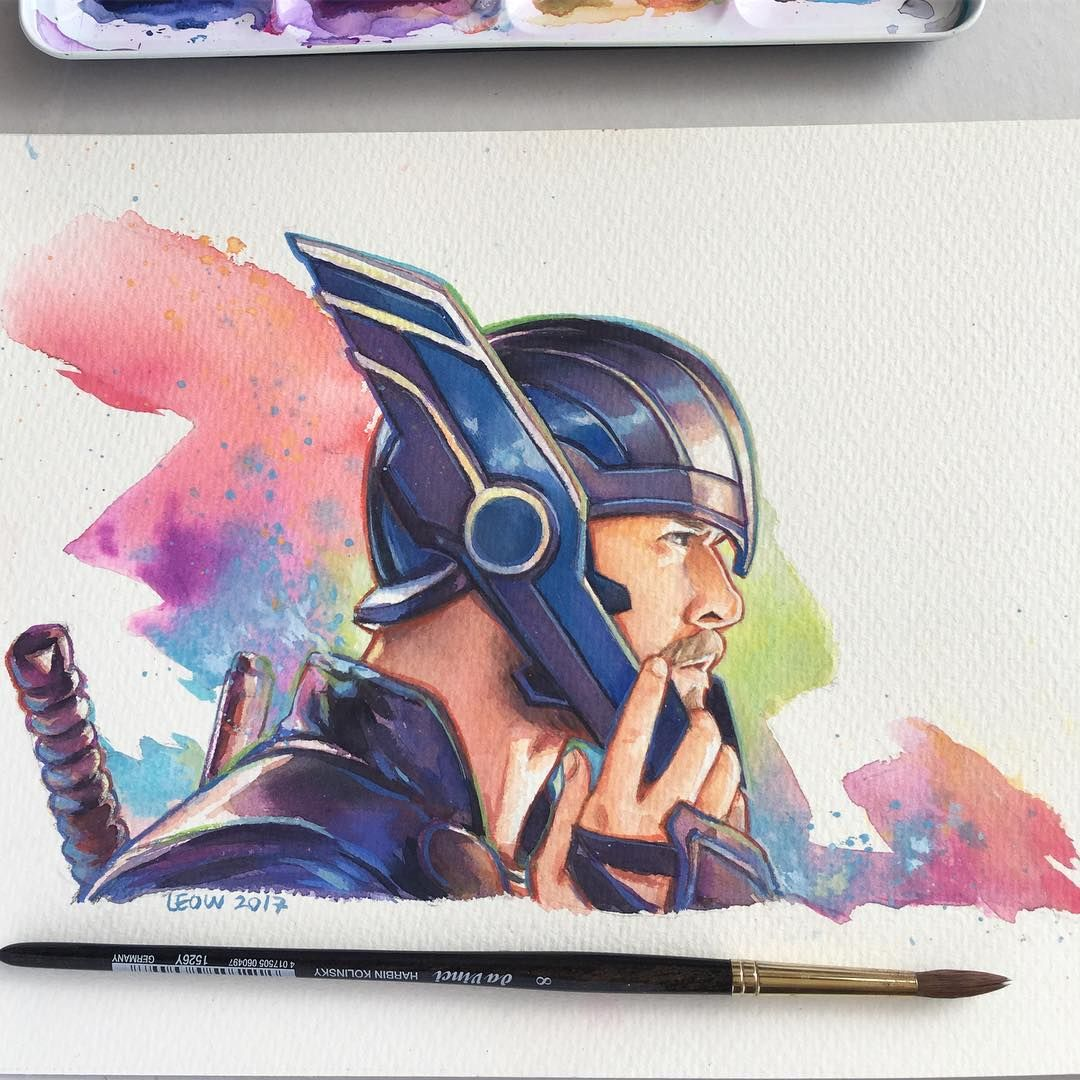 1080x1080 Thor Watercolor Painting By Leow Drawing Class Art