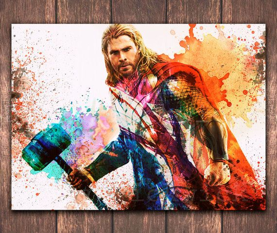 570x481 The Avengers Digital Thor A3 Watercolor Poster Download Marvel