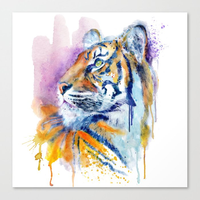 700x700 Young Tiger Watercolor Portrait Canvas Print By Marianvoicu Society6