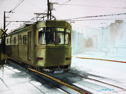 Train Watercolor Paintings
