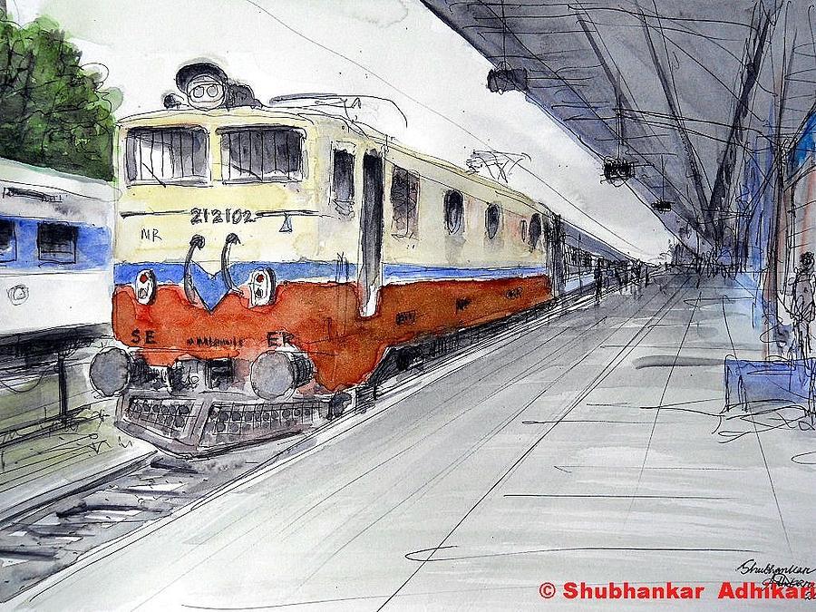 900x675 Kolkata Bound Super Fast Train Painting By Shubhankar Adhikari