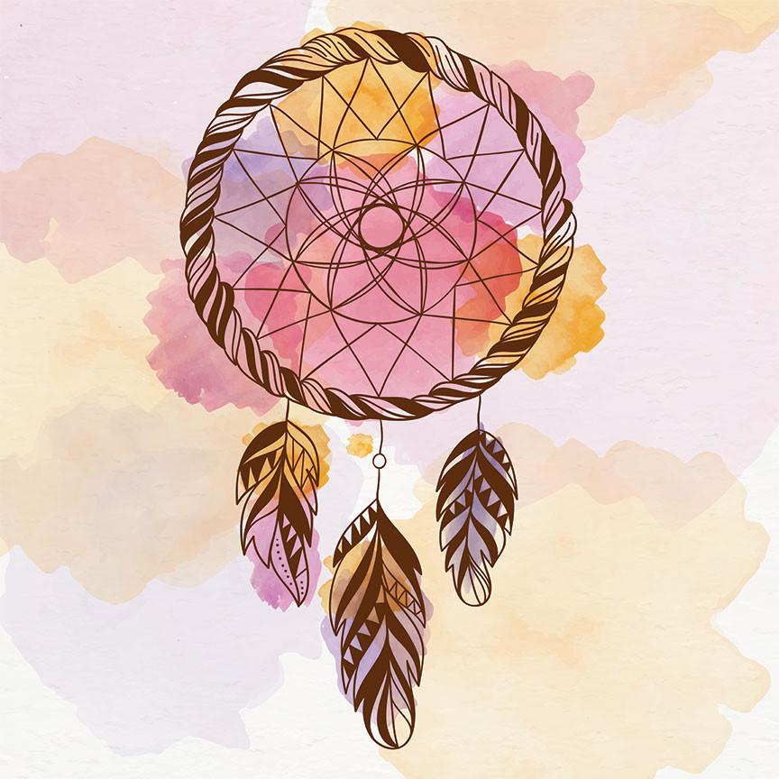 864x864 Tribal Watercolor Dream Catcher In Pink Large Modern Digital Art
