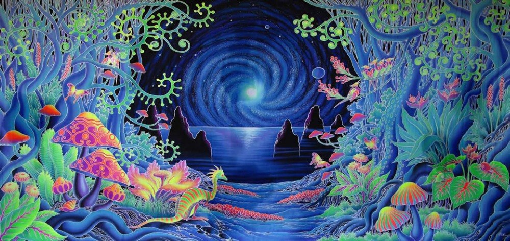 1000x472 Psychedelic Trippy Art Watercolor Inkjet Fabric Poster 28x 13