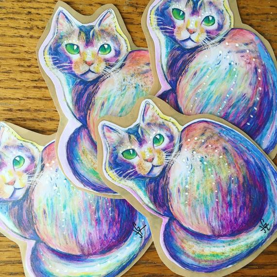 570x570 Psychedelic Trippy Rainbow Cat Sticker Cute Skate Watercolor Etsy