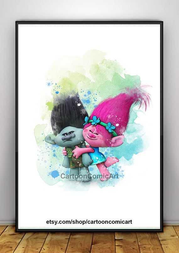 570x806 Amazing Trolls Dreamworks Poster Watercolor Trolls Poster Poppy