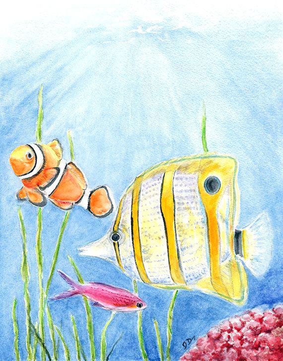 570x725 Tropical Fish Painting Tropical Fish Watercolor Painting Fish