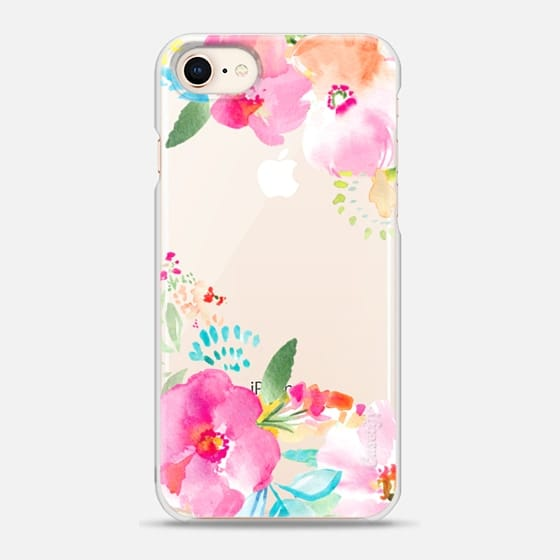 560x560 Pink Sea Tropical Watercolor Flowers Casetify