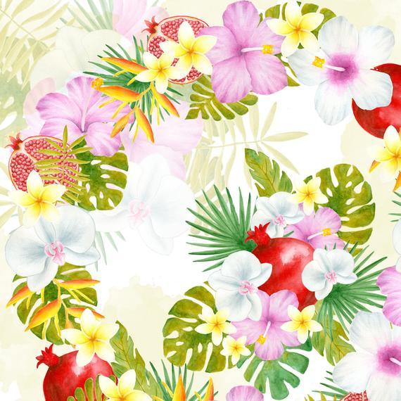 570x570 Tropical Flower Bouquet Watercolor Flowers Clipart Tropical Etsy