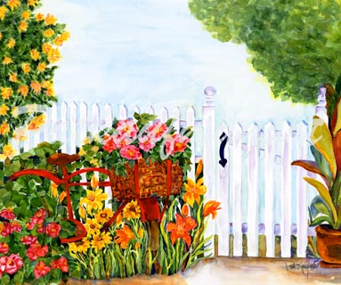383x320 Tropical Gardens And Flora Paintings Watercolors By Tropical