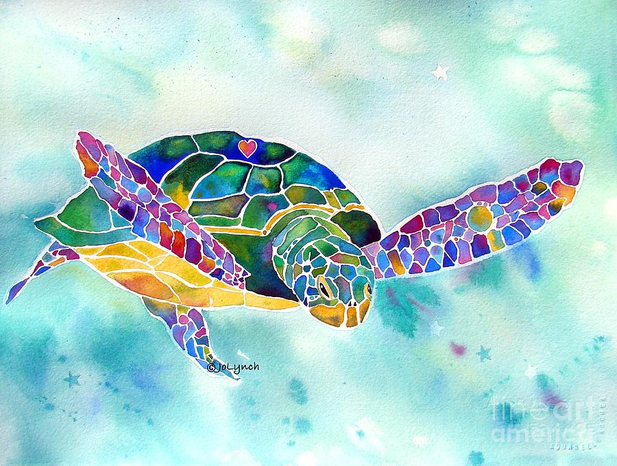 900x679 Sea Weed Sea Turtle Painting By Jo Lynch