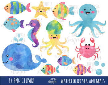 350x277 50% Sale Watercolor Sea Animals Clipart, Under The Sea, Sea Animals