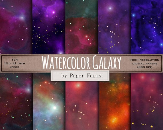 570x456 Watercolor Galaxy Digital Paper. Space Digital Paper Etsy