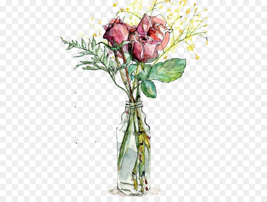 900x680 Garden Roses Vase Watercolor Painting Drawing Illustration