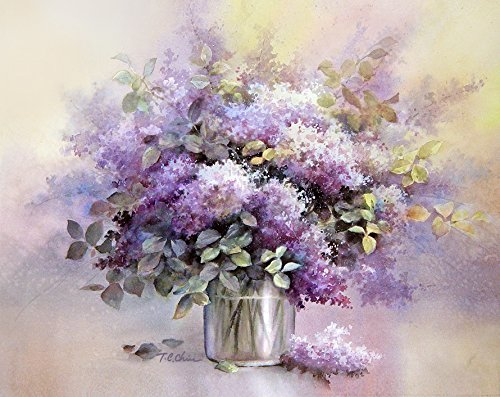 500x397 Lilac Flowers In A Vase Print Of Watercolor Painting