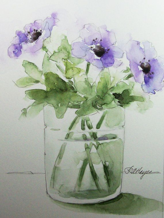 570x760 Purple Flowers In Glass Vase Original Watercolor Painting Floral