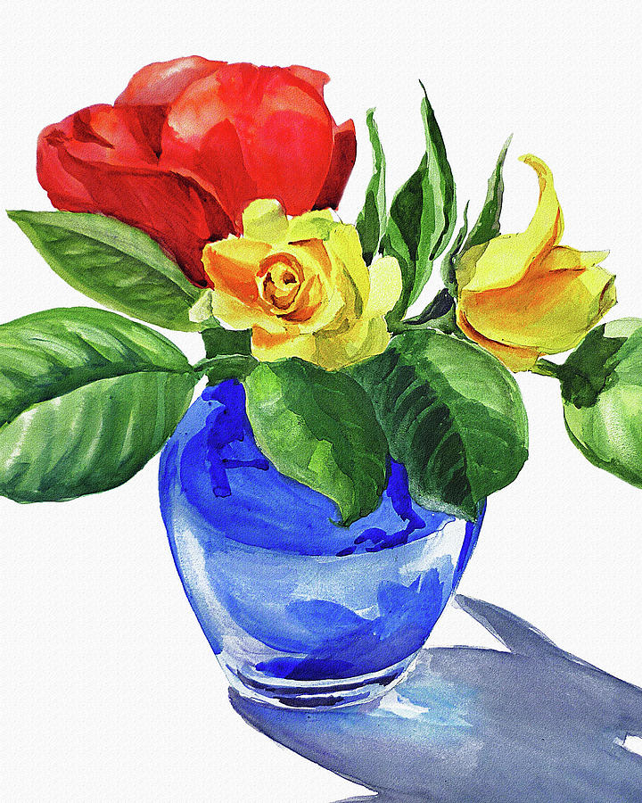 720x900 Red And Yellow Rose In Blue Glass Vase Watercolor Painting By