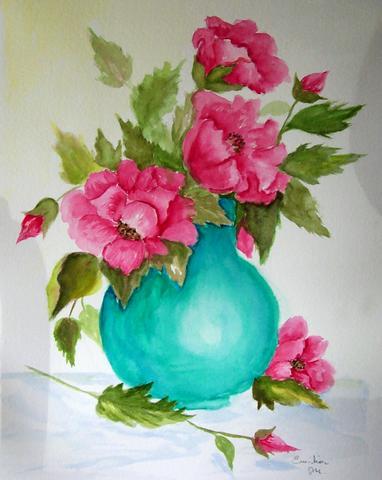 382x480 Red Poppies In Aqua Vase