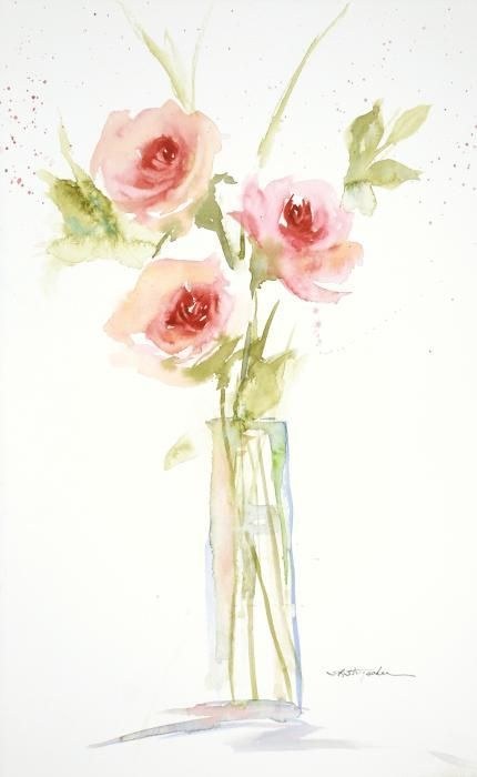 430x700 Three Roses In A Glass Vase~ Transparent Watercolor By Sandra L
